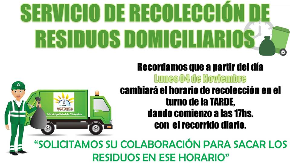 Cambio en el horario de recolección de residuos en Victorica a partir de noviembre 2019.